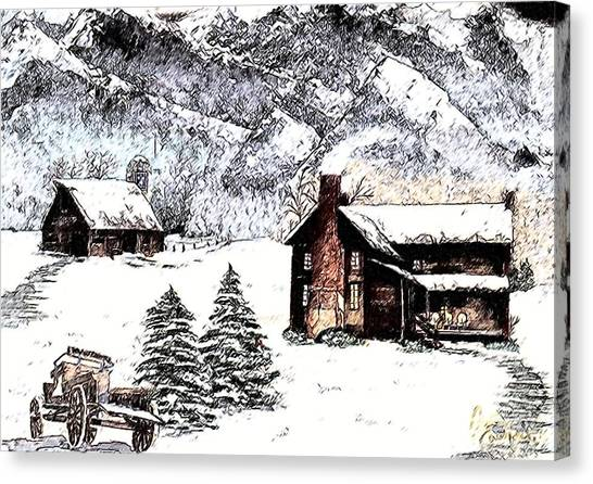 Early Snowfall Canvas Print by Penny Everhart