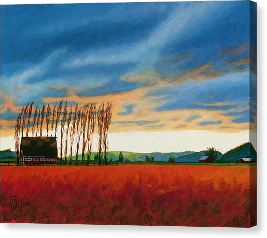 Barn Storm Canvas Print - Early Spring, Skagit Valley by Stacey Neumiller