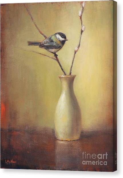 Chickadee Canvas Print - Early Spring Still Life by Lori McNee