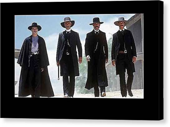 Earp Brothers And Doc Holliday Approaching O.k. Corral Tombstone Movie Mescal Az 1993-2015 Canvas Print