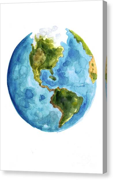 Watercolor Canvas Print - Earth America Watercolor Poster by Joanna Szmerdt