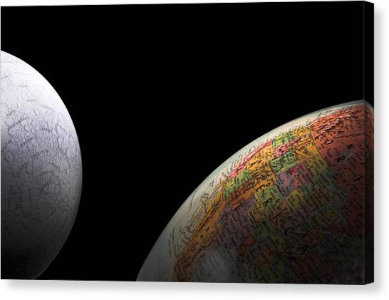 Earth And Moon Canvas Print by Rob Byron