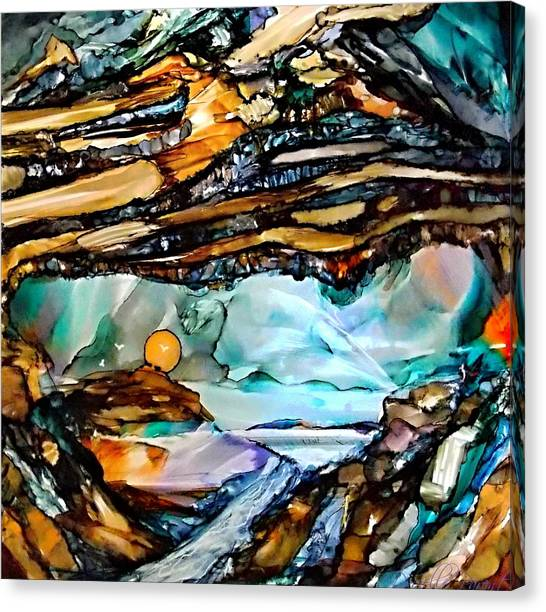Earth Day Underground Paradise Alcohol Inks Canvas Print