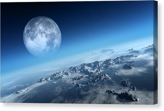 Moon Canvas Print - Earth Icy Ocean Aerial View by Johan Swanepoel