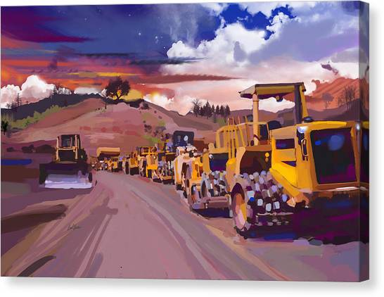 Shovel Canvas Print - Earthmover Dawn by Brad Burns