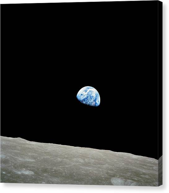 Astronauts Canvas Print - Earthrise Over Moon, Apollo 8 by Nasa
