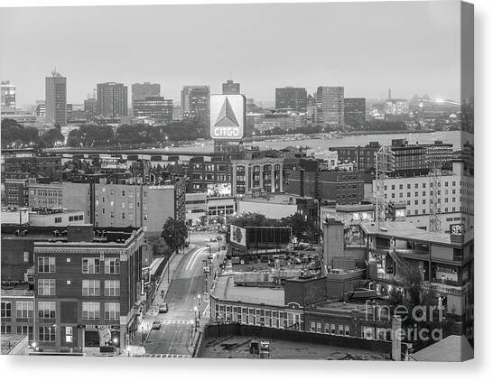 Harvard University Canvas Print - East Cambrdige Boston Skyline Aerial Citgo Sign Photo by Paul Velgos