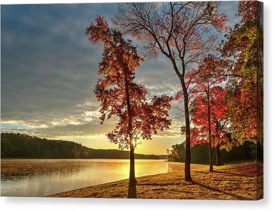 East Texas Autumn Sunrise At The Lake Canvas Print