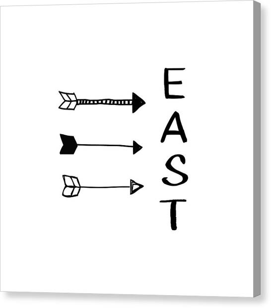 Compass Canvas Print - East With Arrows- Art By Linda Woods by Linda Woods