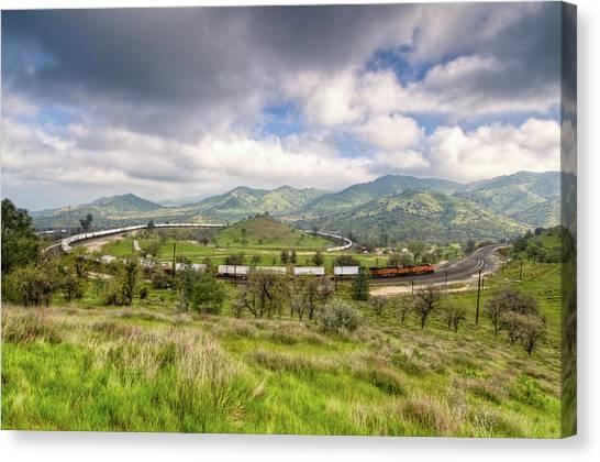 Eastbound Train At The Tehachapi Loop Canvas Print