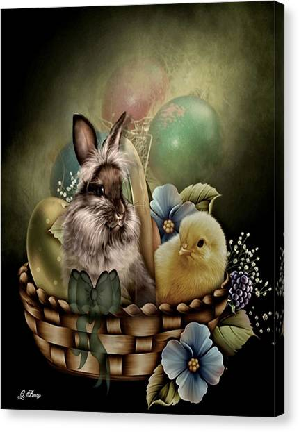Easter Baskets Canvas Print - Easter Basket by G Berry