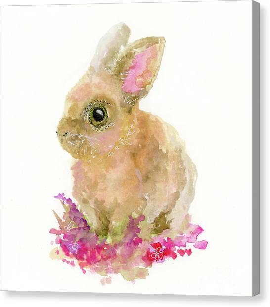 Canvas Print featuring the painting Easter Bunny by Lauren Heller