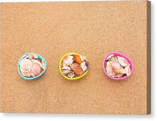 Easter Egg Baskets On Beach Canvas Print