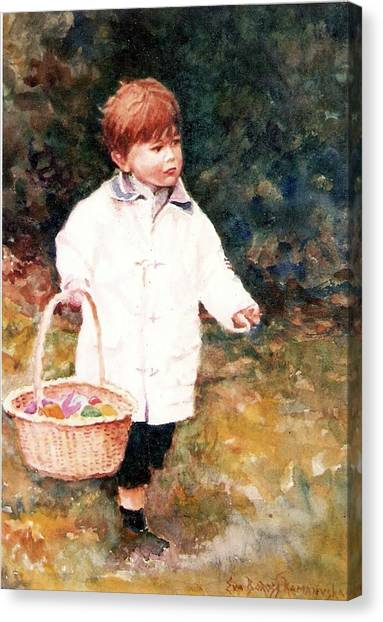 Easter Baskets Canvas Print - Easter Morning -commissioned Portrait by Eva Ramanuskas
