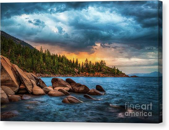Storms Canvas Print - Eastern Glow At Sunset by Anthony Bonafede
