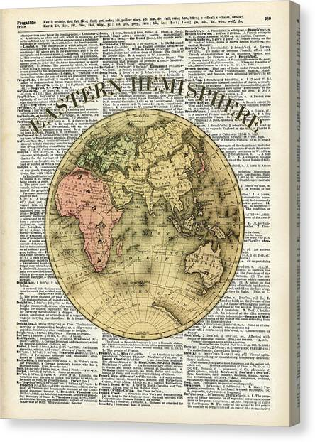 Map Canvas Print - Eastern Hemisphere Earth Map Over Dictionary Page by Fundacja Rozwoju Przedsiebiorczosci