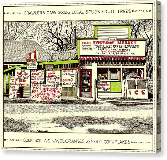 Canvas Print featuring the painting Eastside Market by Chholing Taha
