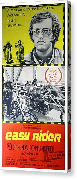 Dennis Hopper Canvas Print - Easy Rider Movie Lobby Poster  1969 by Daniel Hagerman