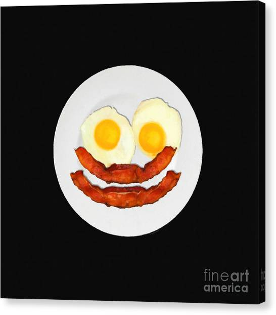 Eggs And Bacon Canvas Print - Eat Breakfast And Smile All Day Blk by Wingsdomain Art and Photography