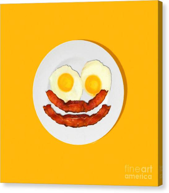 Eggs And Bacon Canvas Print - Eat Breakfast And Smile All Day Ora by Wingsdomain Art and Photography