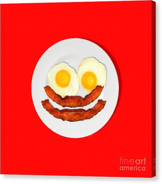 Eggs And Bacon Canvas Print - Eat Breakfast And Smile All Day Red by Wingsdomain Art and Photography