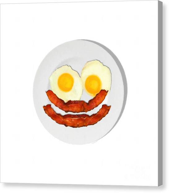 Eggs And Bacon Canvas Print - Eat Breakfast And Smile All Day Whi by Wingsdomain Art and Photography