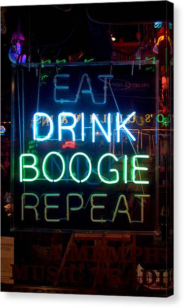 Eat Drink Boogie Repeat Beale Street Memphis Tennessee Canvas Print by Wayne Higgs