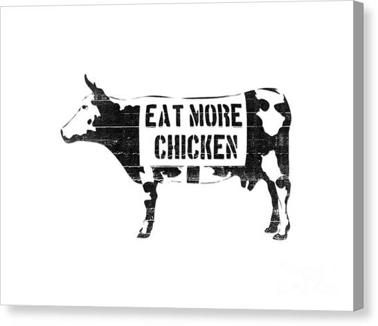 Cow Canvas Print - Eat More Chicken by Pixel  Chimp
