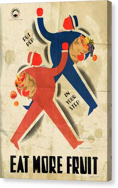 Eat More Fruit - Vintage Poster Folded Canvas Print