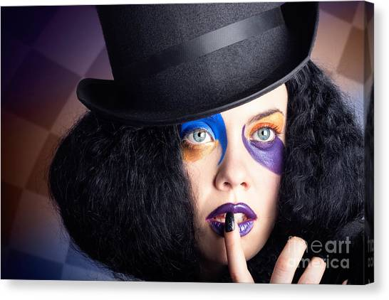 Lacquer Canvas Print - Eccentric Mad Fashion Hatter In Colourful Makeup by Jorgo Photography - Wall Art Gallery