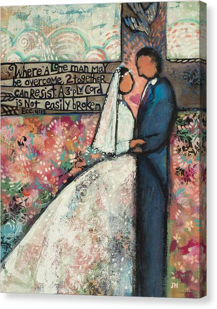 Ply Canvas Print - Ecclesiastes 4 12 Wedding Art by Jen Norton