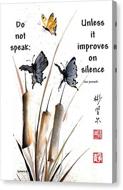 Echo Of Silence With Zen Proverb Canvas Print