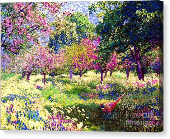 California Landscape Art Canvas Print - Echoes From Heaven, Spring Orchard Blossom And Pheasant by Jane Small