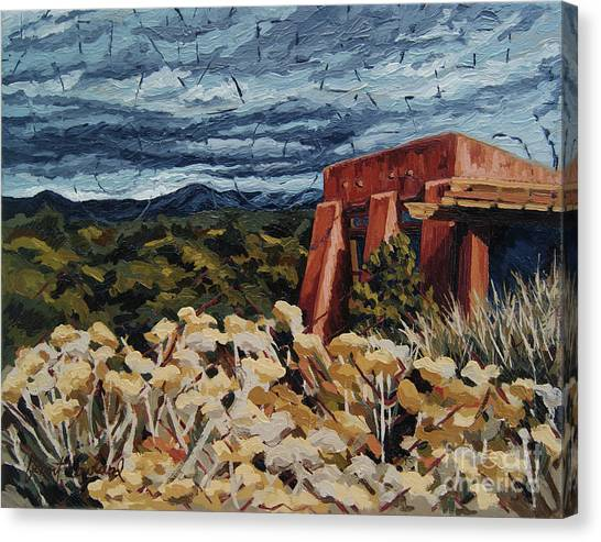 Canvas Print featuring the painting Echoes Of Tularosa, Museum Hill, Santa Fe, Nm by Erin Fickert-Rowland