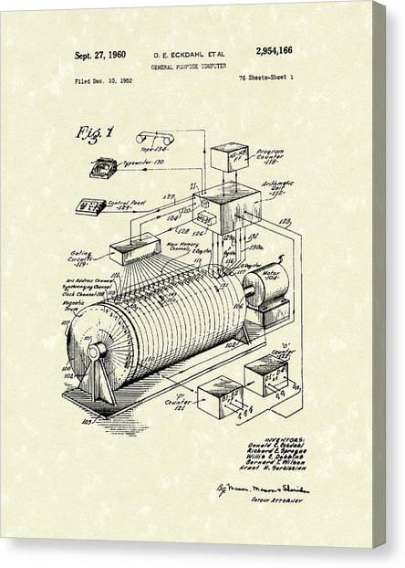 Eckdahl Computer 1960 Patent Art Canvas Print