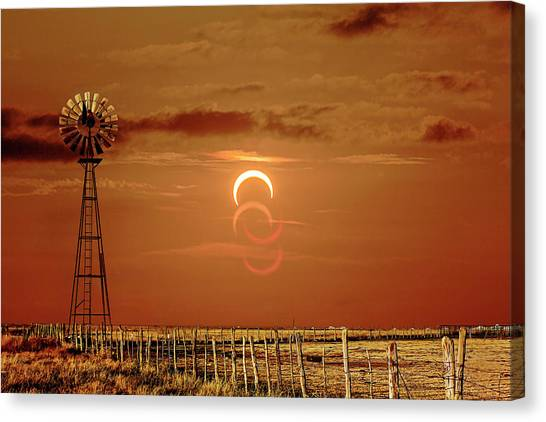 Eclipse And Lens Flares Canvas Print