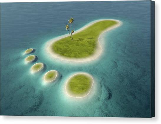 Conservation Canvas Print - Eco Footprint Shaped Island by Johan Swanepoel