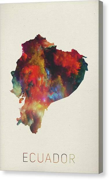 Ecuadorian Canvas Print - Ecuador Watercolor Map by Design Turnpike