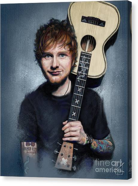 Folk Art Canvas Print - Ed Sheeran by Andre Koekemoer