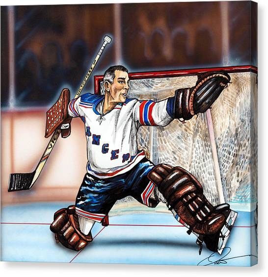 New York Rangers Canvas Print - Eddie Giacomin by Dave Olsen