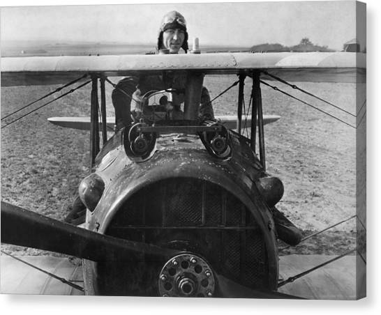 Biplane Canvas Print - Eddie Rickenbacker - World War One - 1918 by War Is Hell Store