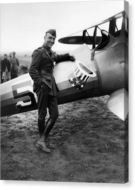 Biplane Canvas Print - Eddie Rickenbacker - Ww1 American Air Ace by War Is Hell Store