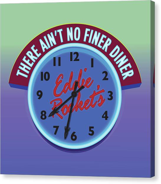 Diners Canvas Print - Eddie Rocket Clock by Greg Joens