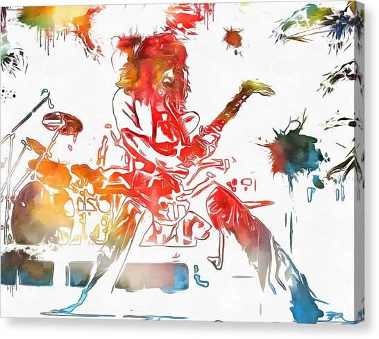Van Halen Canvas Print - Eddie Van Halen Paint Splatter by Dan Sproul