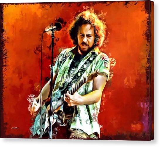 Pearl Jam Canvas Print - Eddie Vedder Of Pearl Jam by Scott Wallace Digital Designs
