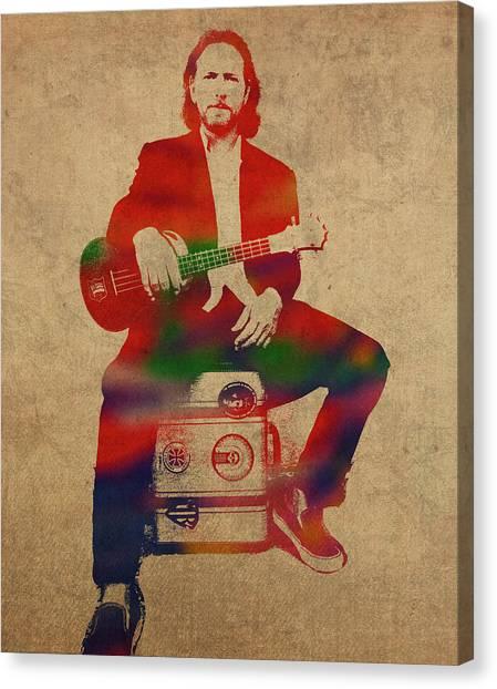 Pearl Jam Canvas Print - Eddie Vedder Pearl Jam Watercolor Portrait by Design Turnpike