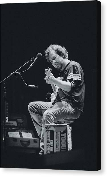 Ukuleles Canvas Print - Eddie Vedder Playing Live by Marco Oliveira