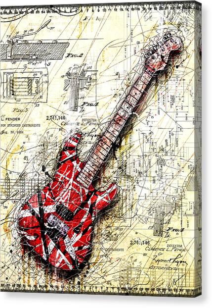 Stratocasters Canvas Print - Eddie's Guitar 3 by Gary Bodnar