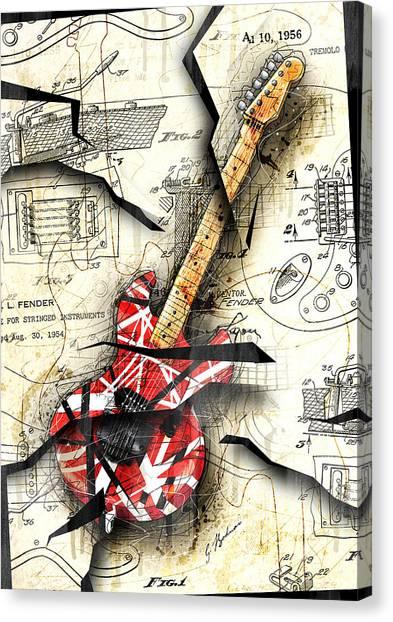 Fender Guitars Canvas Print - Eddie's Guitar by Gary Bodnar