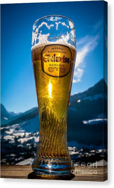 Canvas Print featuring the photograph Edelweiss Beer In Kirchberg Austria by John Wadleigh